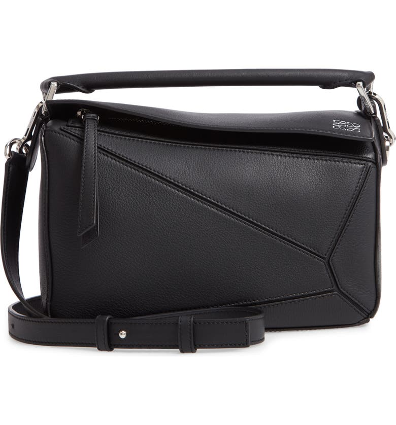 LOEWE Puzzle Small Shoulder Bag, Main, color, BLACK