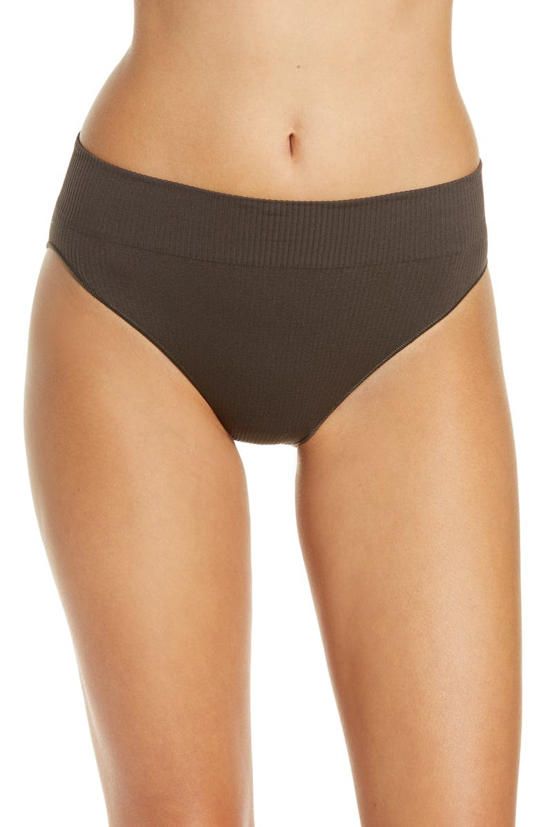 SKIMS Stretch Ribbed Mid Waist Briefs, Main, color, 004