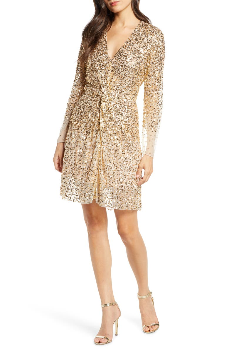 FRENCH CONNECTION Emille Sparkle Long Sleeve Sequin Sheath Dress, Main, color, GOLD