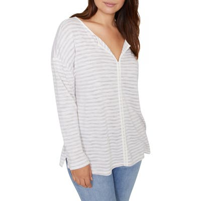 Plus Size Sanctuary Elina Split Neck Long Sleeve Tee, White