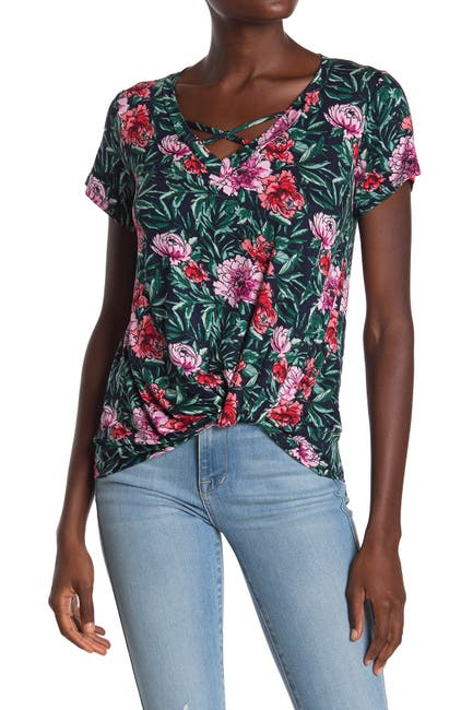 Image of Bobeau Short Sleeve Crisscross Twist Front T-Shirt