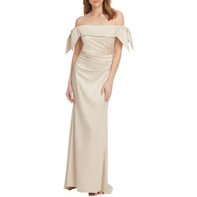 Vince Camuto Off The Shoulder Ruched Trumpet Gown, Ivory
