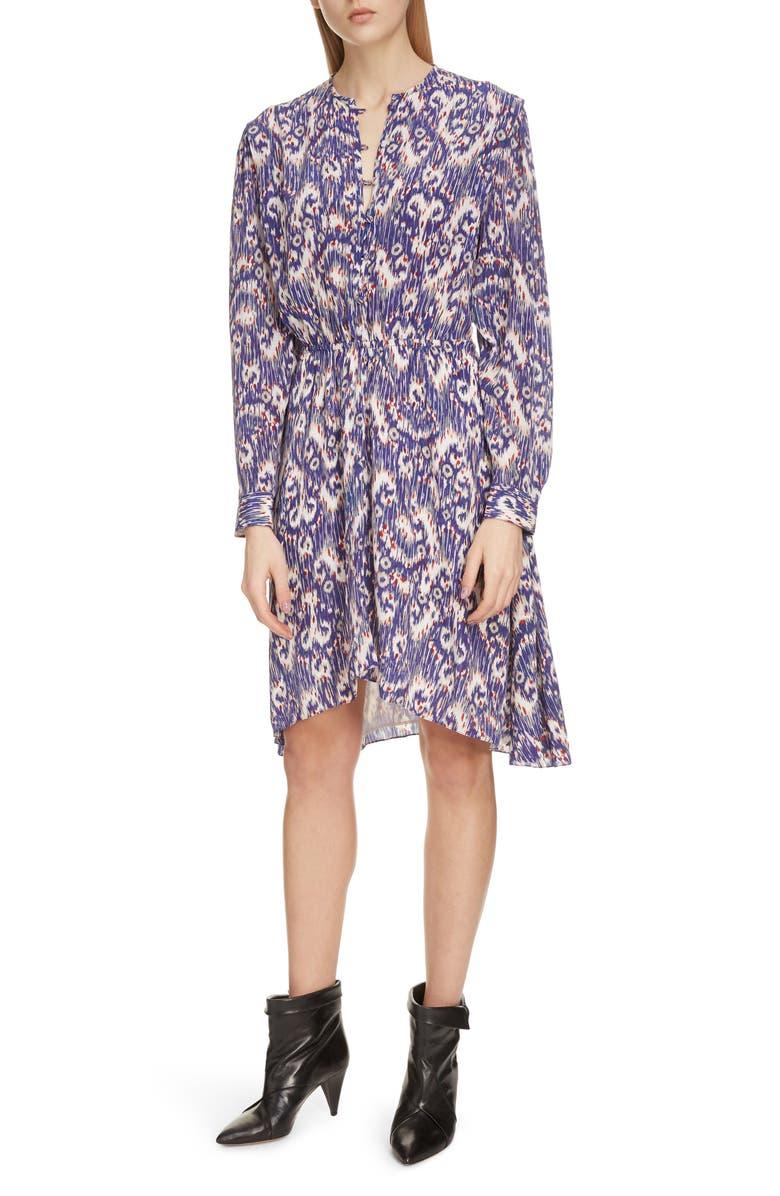 ISABEL MARANT ÉTOILE Yandra Long Sleeve Silk Dress, Main, color, BLUE