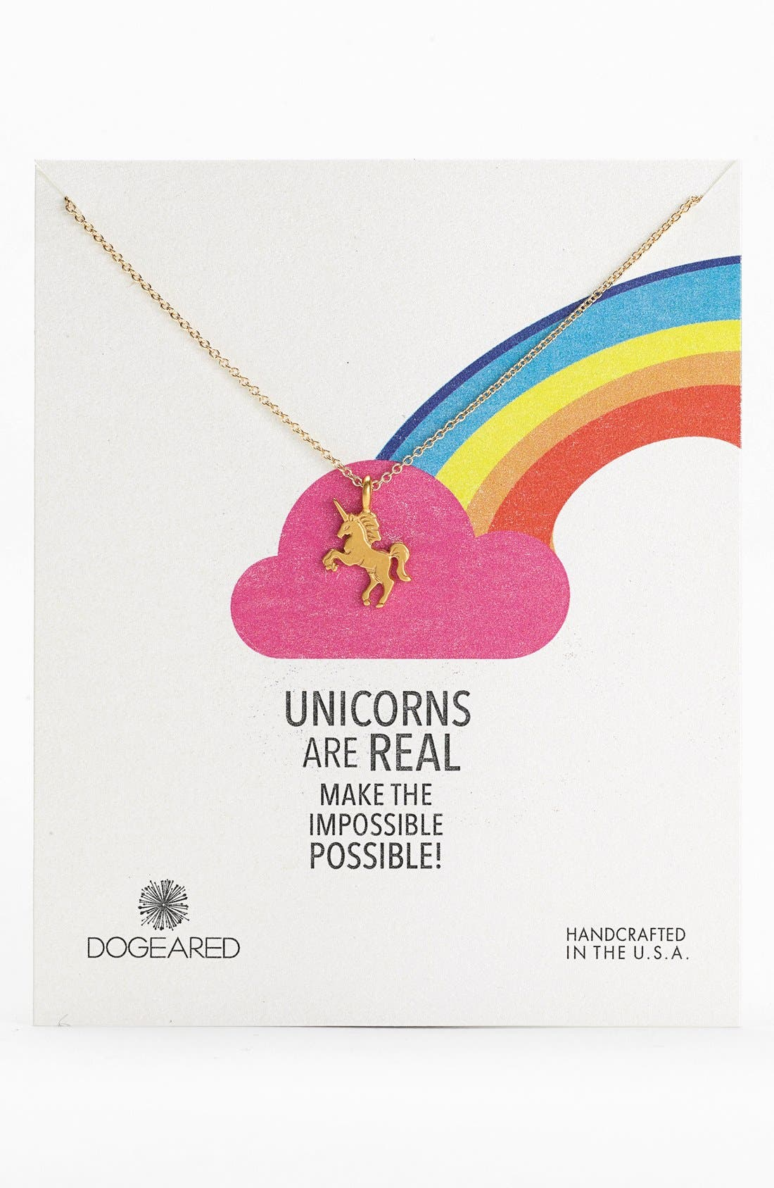 'Unicorns are Real' Pendant Necklace, Main, color, 710