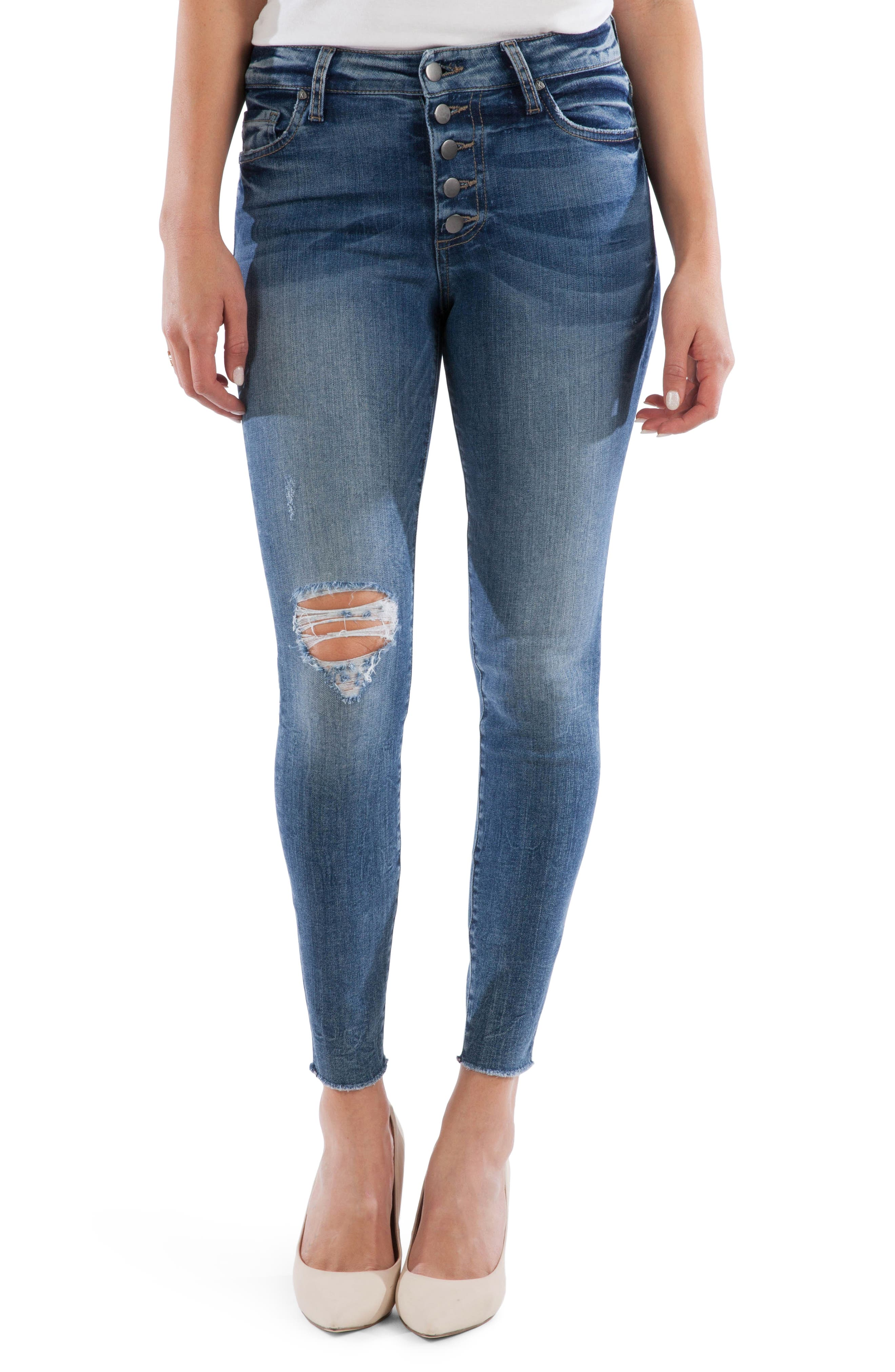 KUT from the Kloth Connie Button Fly High Waist Ankle Skinny Jeans (Demand)