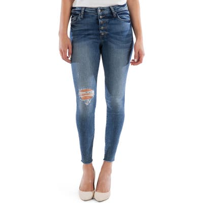Kut From The Kloth Connie Button Fly High Waist Ankle Skinny Jeans, Blue
