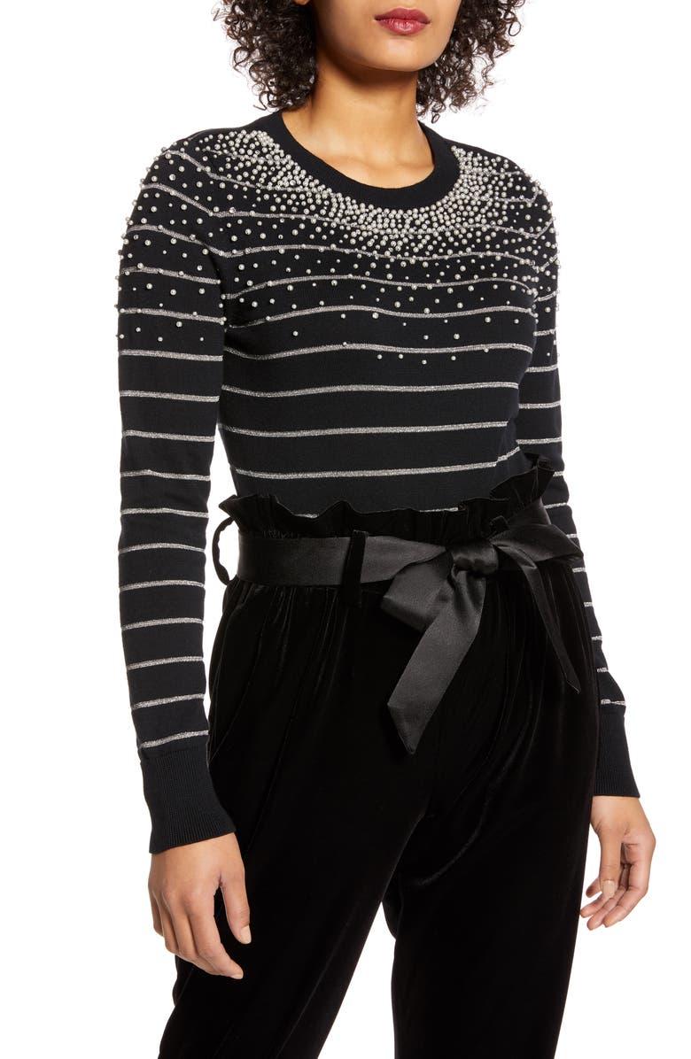 HALOGEN<SUP>®</SUP> x Atlantic-Pacific Pearl Metallic Stripe Sweater, Main, color, BLACK- SILVER PEARLED STRIPE