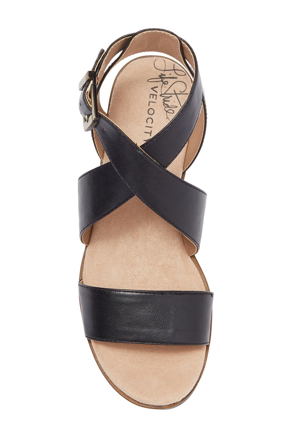 Image of LifeStride Banning Cross Strap Flat Sandals - Wide Width Available