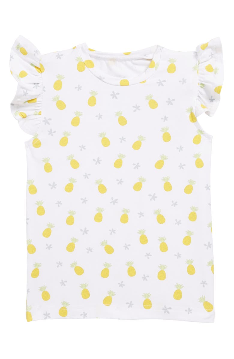 COCO MOON Pineapple Flutter Sleeve Tee, Main, color, YELLOW