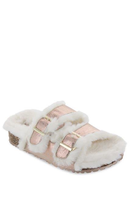 Image of MIA Rozy Faux Fur Dual Buckle Slide
