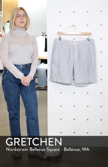 Pinstripe Linen Cargo Shorts, sales video thumbnail