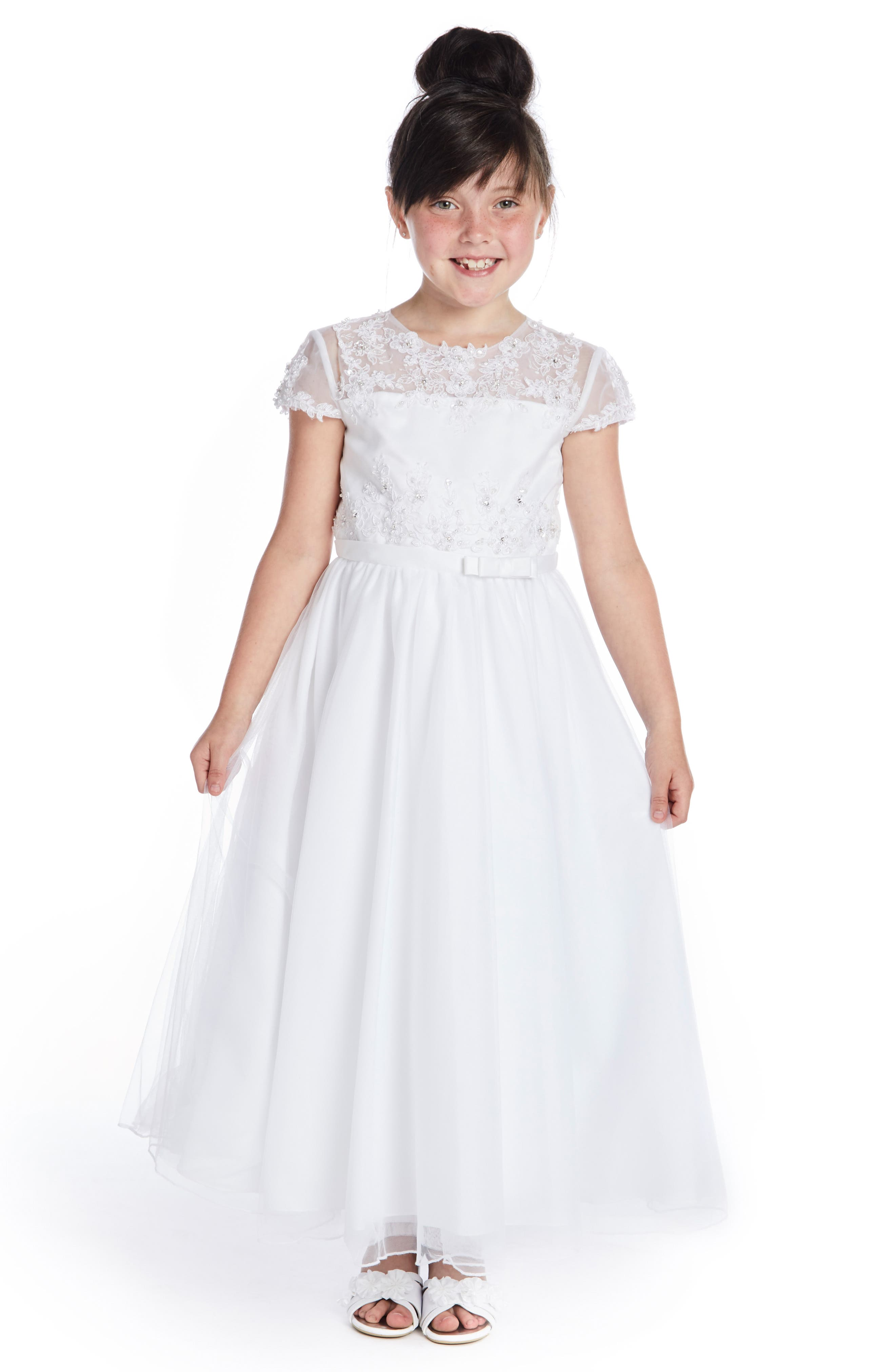 Beaded Lace Bodice First Communion Dress, Main, color, WHITE