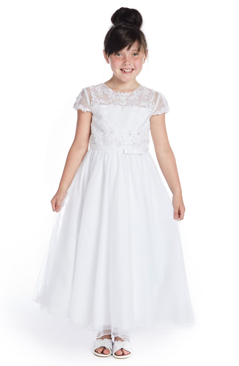 LAUREN MARIE Beaded Lace Bodice First Communion Dress, Main, color, WHITE