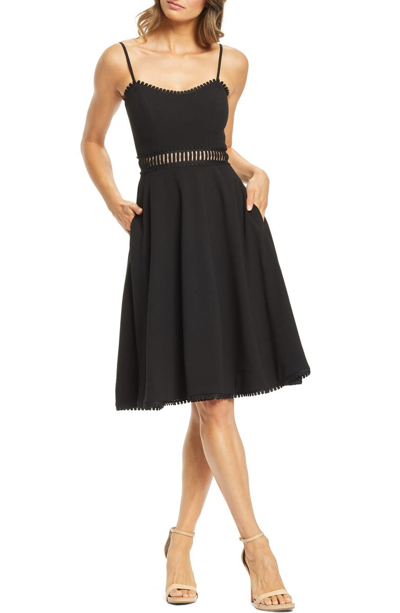 DRESS THE POPULATION Harlow A-Line Cocktail Dress, Main, color, 001