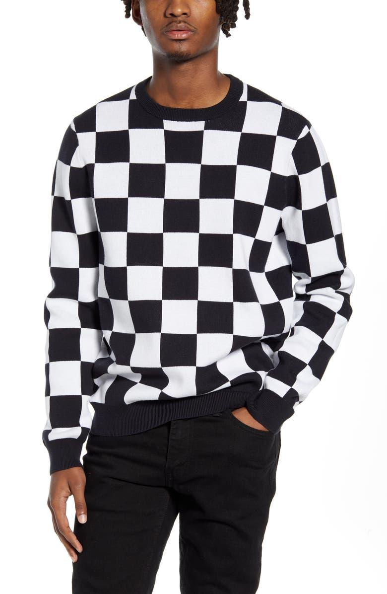 VANS Checker Sweater, Main, color, BLACK/ WHITE