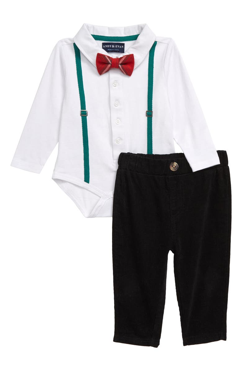 ANDY & EVAN Suspender Polo Bodysuit, Pants & Bow Tie Set, Main, color, NATURAL