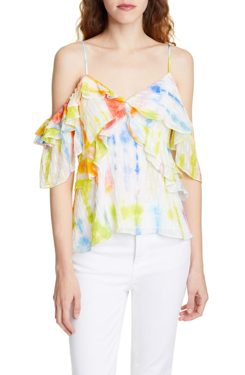 TANYA TAYLOR Tavia Ruffle Detail Tie Dye Silk & Cotton Top, Main, color, 732