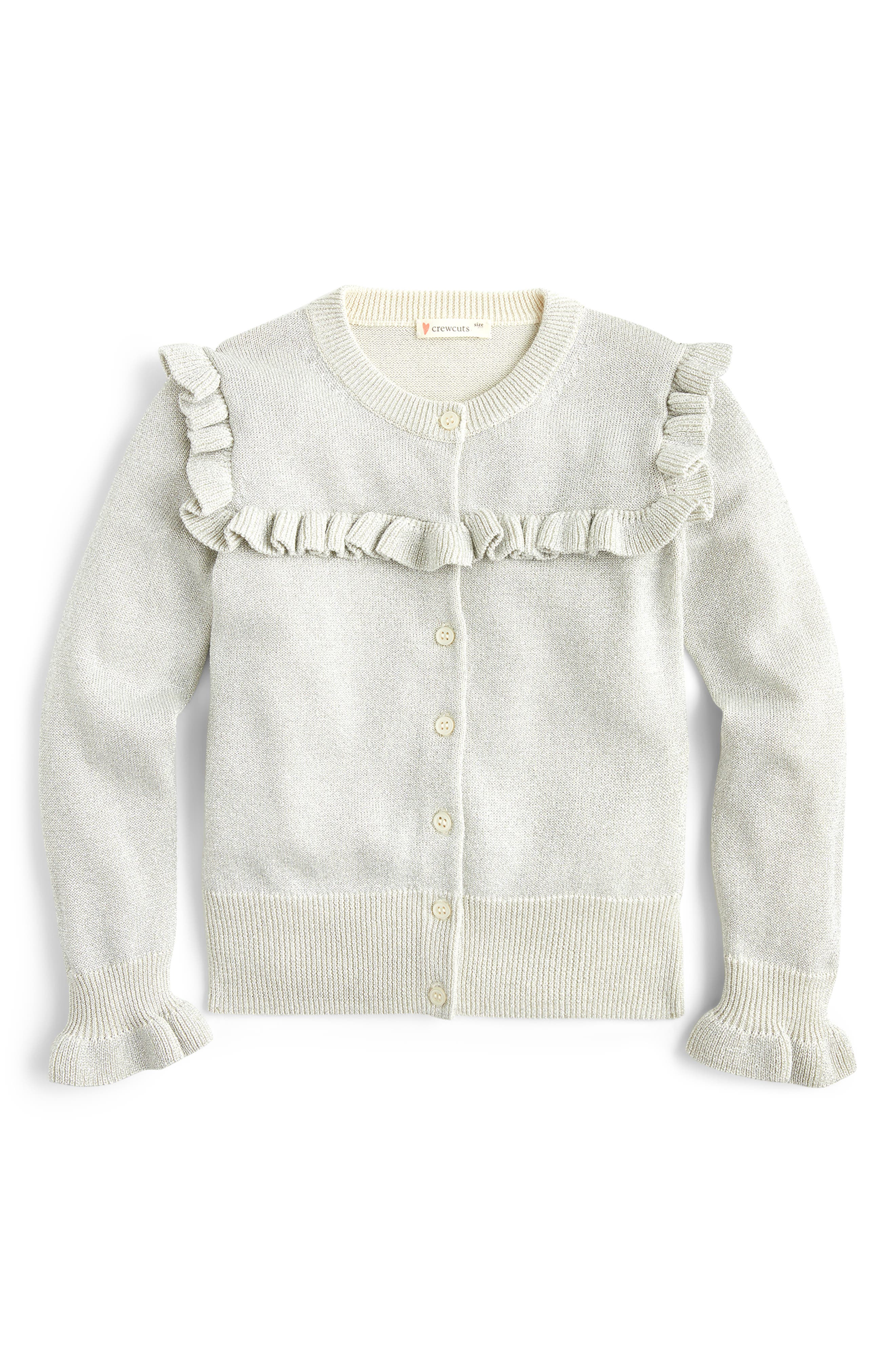 Toddler Girls Crewcuts By Jcrew Sparkly Ruffle Trimmed Cardigan Sweater Size 2T  Ivory