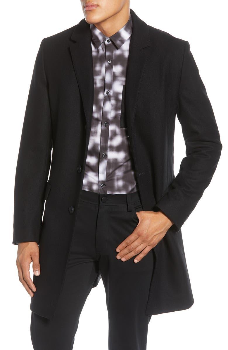 HUGO Migor Wool Blend Coat, Main, color, BLACK