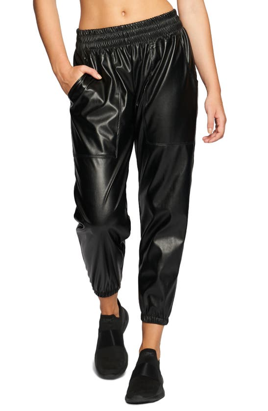 HEROINE SPORT Leathers DOWNTOWN FAUX LEATHER JOGGERS