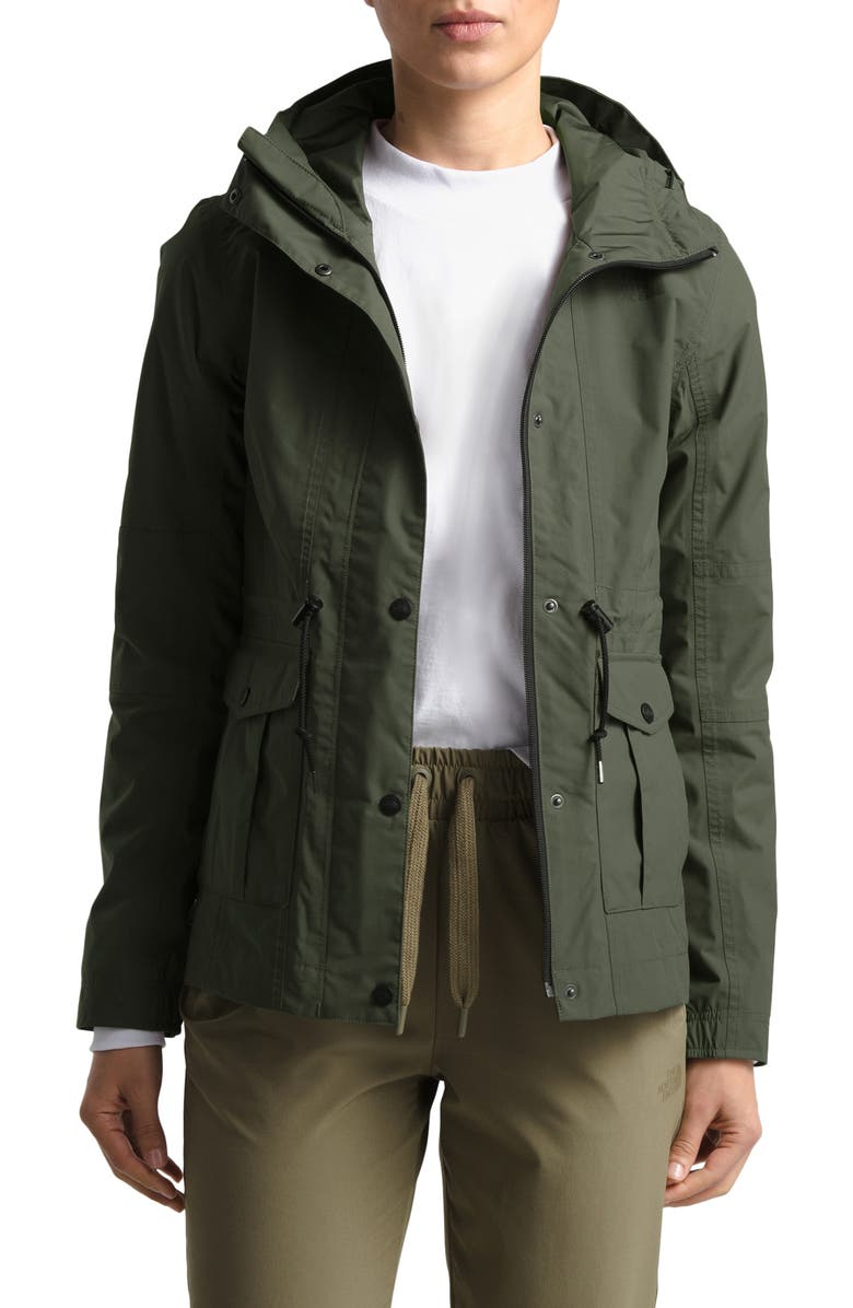 THE NORTH FACE Zoomie Zoomie Hooded Waterproof Raincoat, Main, color, NEW TAUPE GREEN
