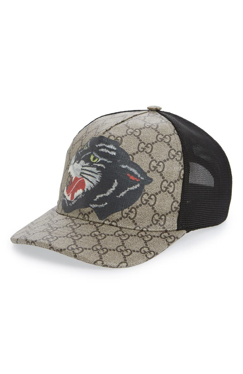 GUCCI Hanry J Wolf Canvas Baseball Cap, Main, color, 200