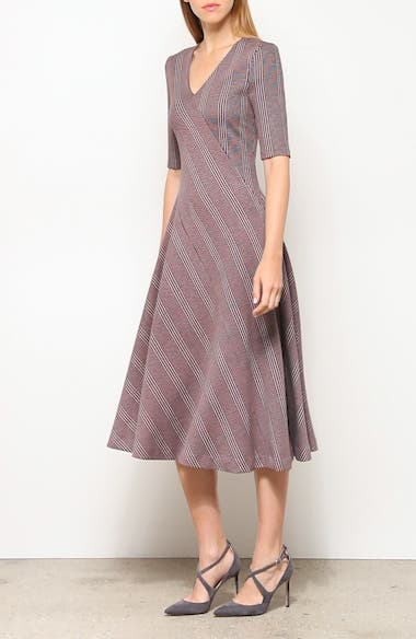 Paneled Glen Plaid Midi Dress, video thumbnail