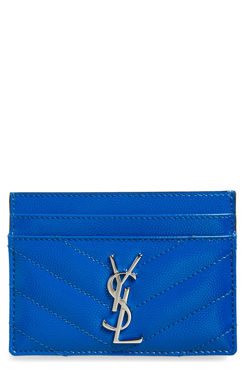 SAINT LAURENT Monogram Leather Card Case, Main, color, NEON BLUE