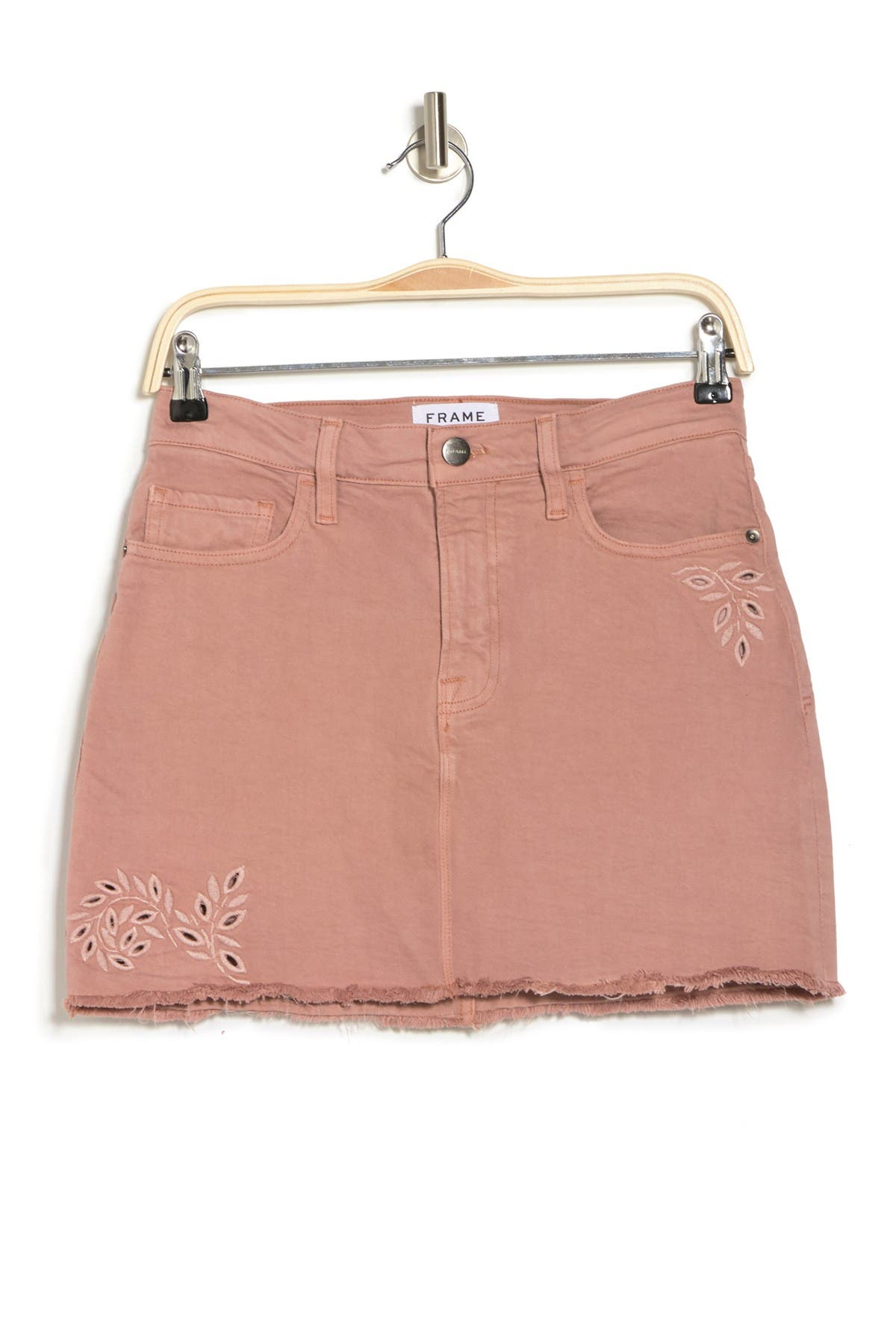 Image of FRAME Le Mini Skirt Foliage Eyelet Denim Skirt