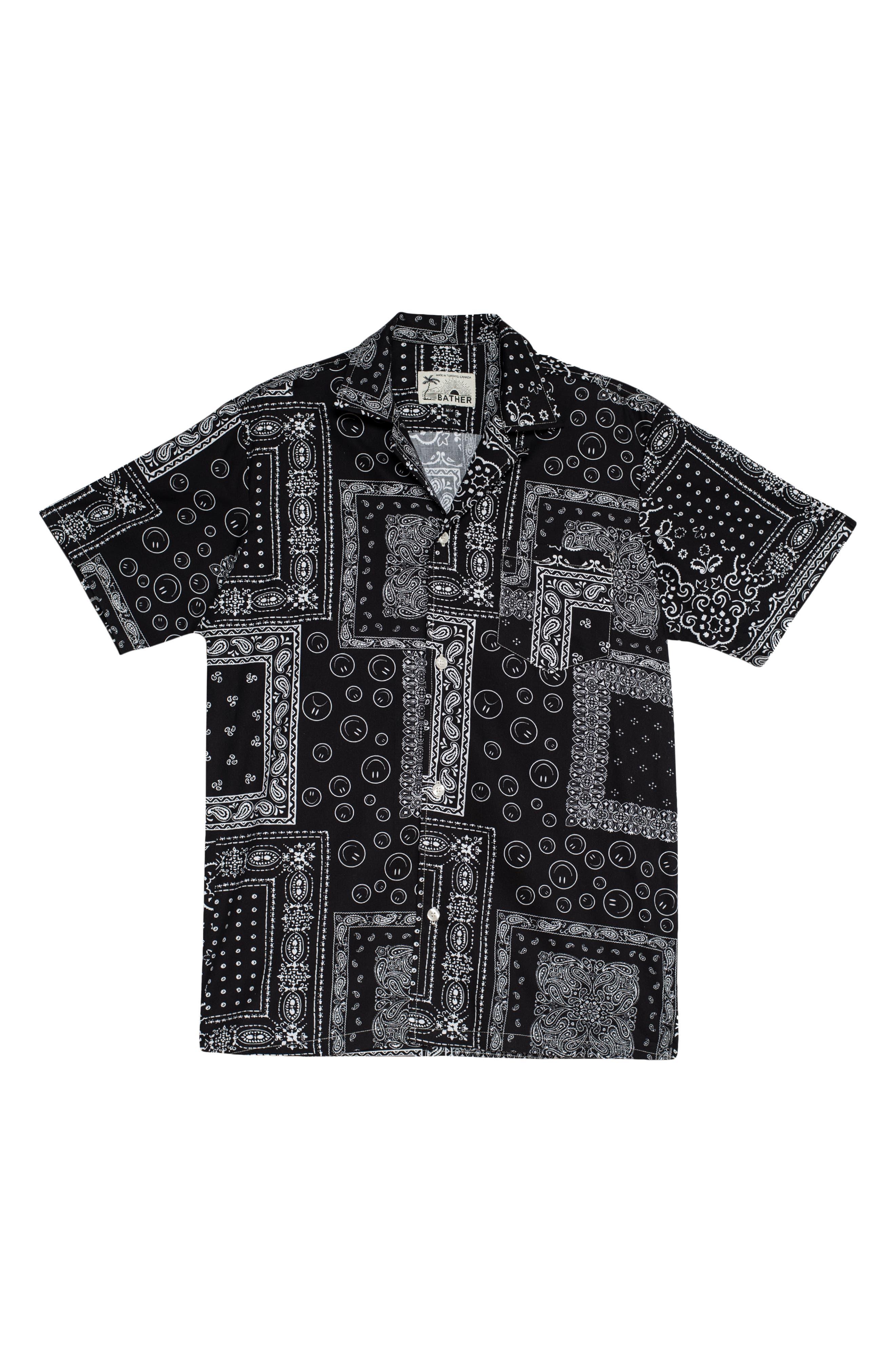 Bandana Print Short Sleeve Button-Up Camp Shirt