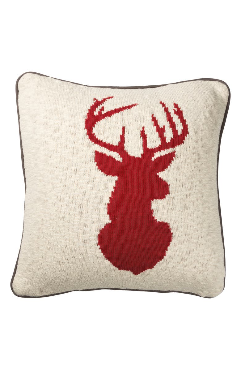 PRIMITIVES BY KATHY Stag Accent Pillow, Main, color, RED