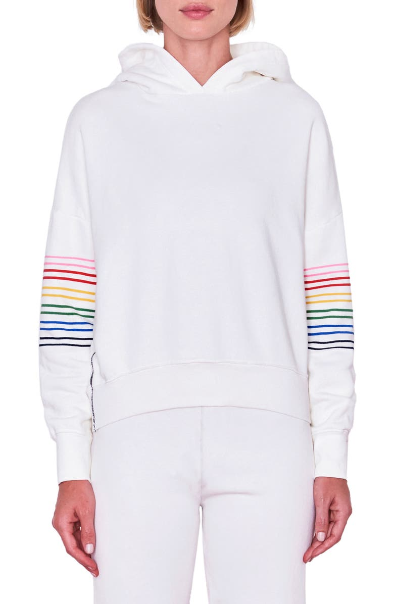 SUNDRY Rainbow Stripe Hoodie, Main, color, PIGMENT PAPER