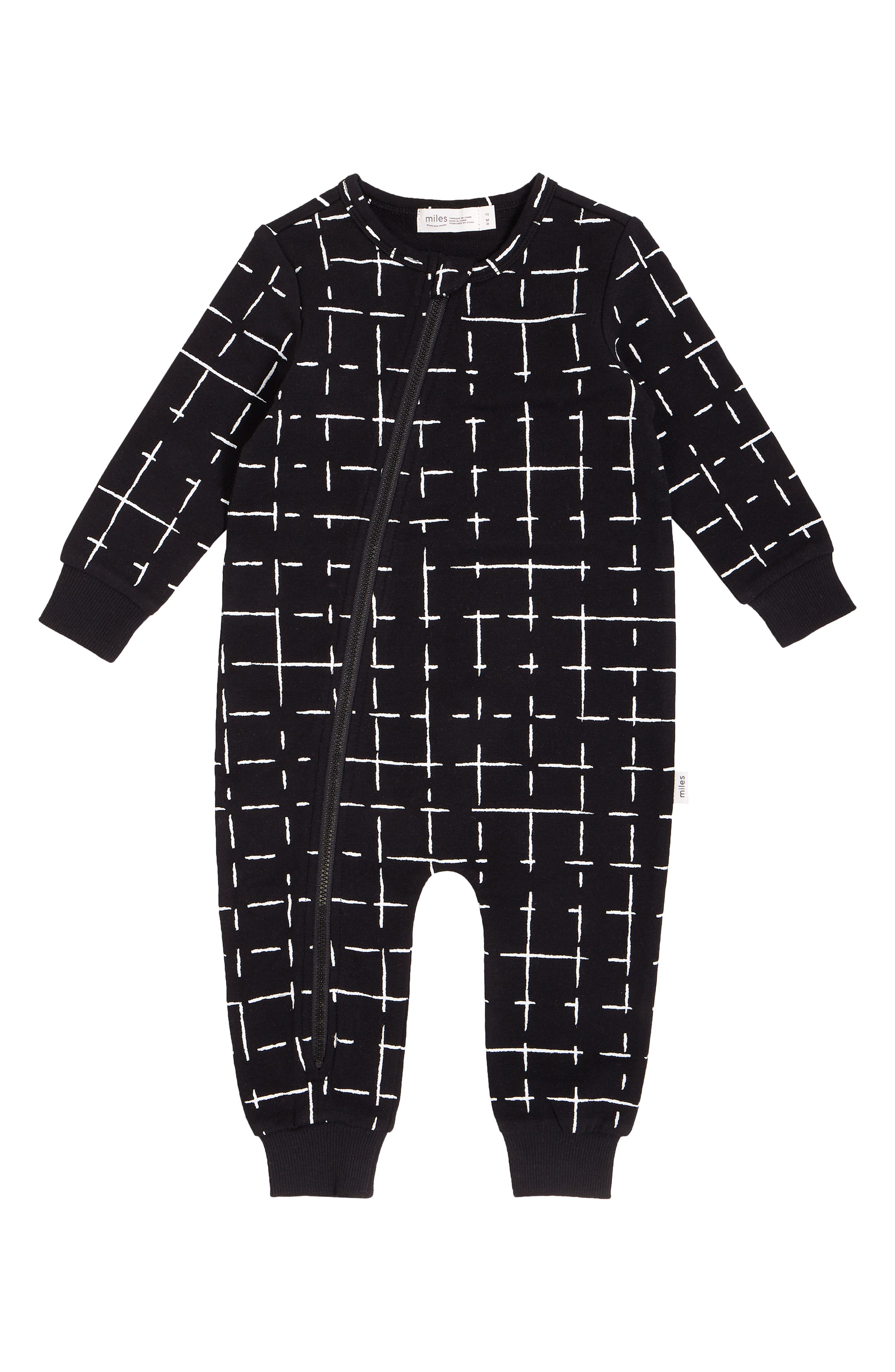 Give your little one a cozy cuddle in this soft cotton romper that\\\'s easy on you and him thanks to a top-to-bottom zipper fixed with a no-scratch chin guard. Style Name: Miles Baby Asymmetrical Zip Romper (Baby). Style Number: 6087366. Available in stores.