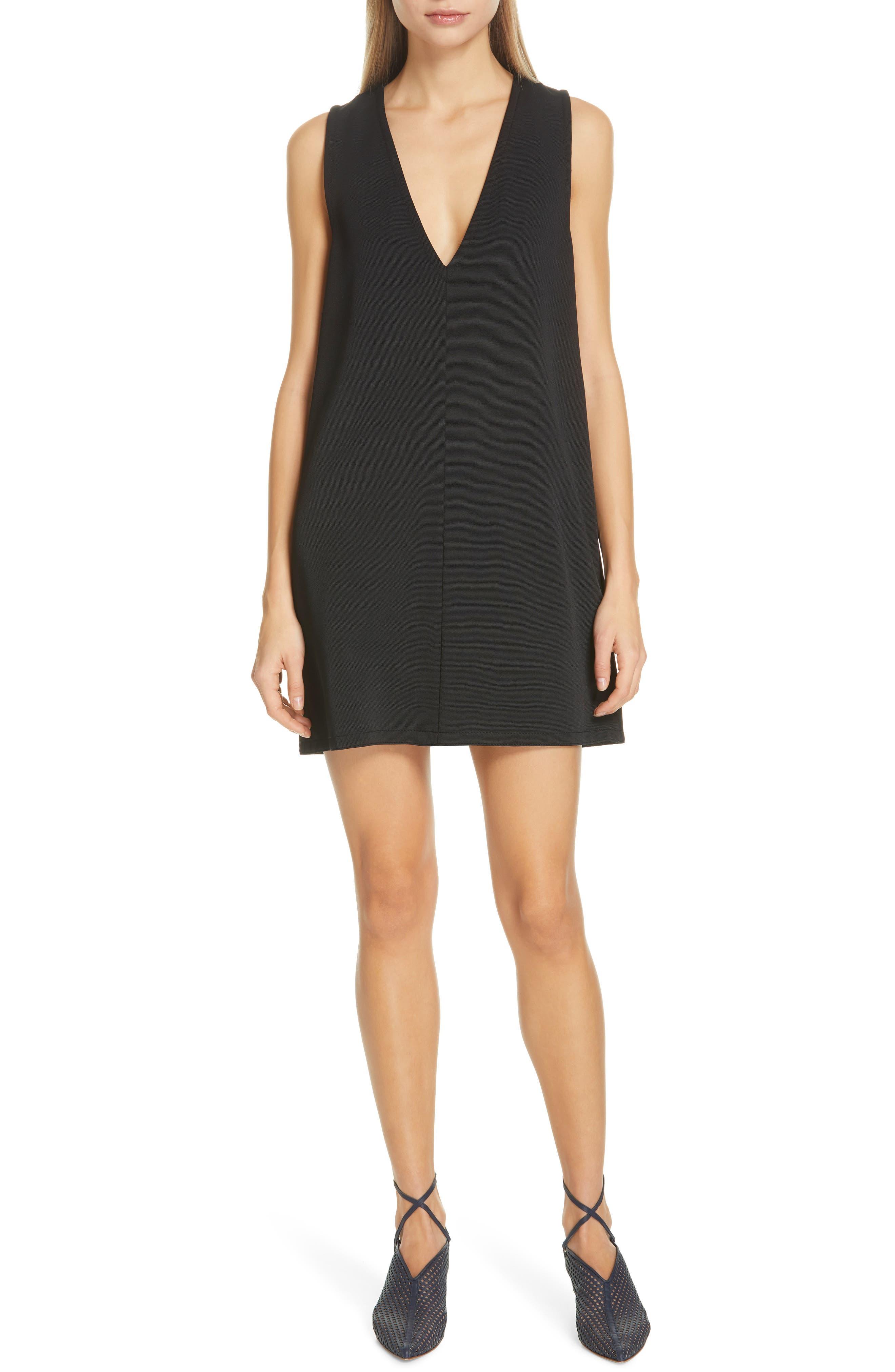 Tibi Frisse Plunging Shift Dress, Black