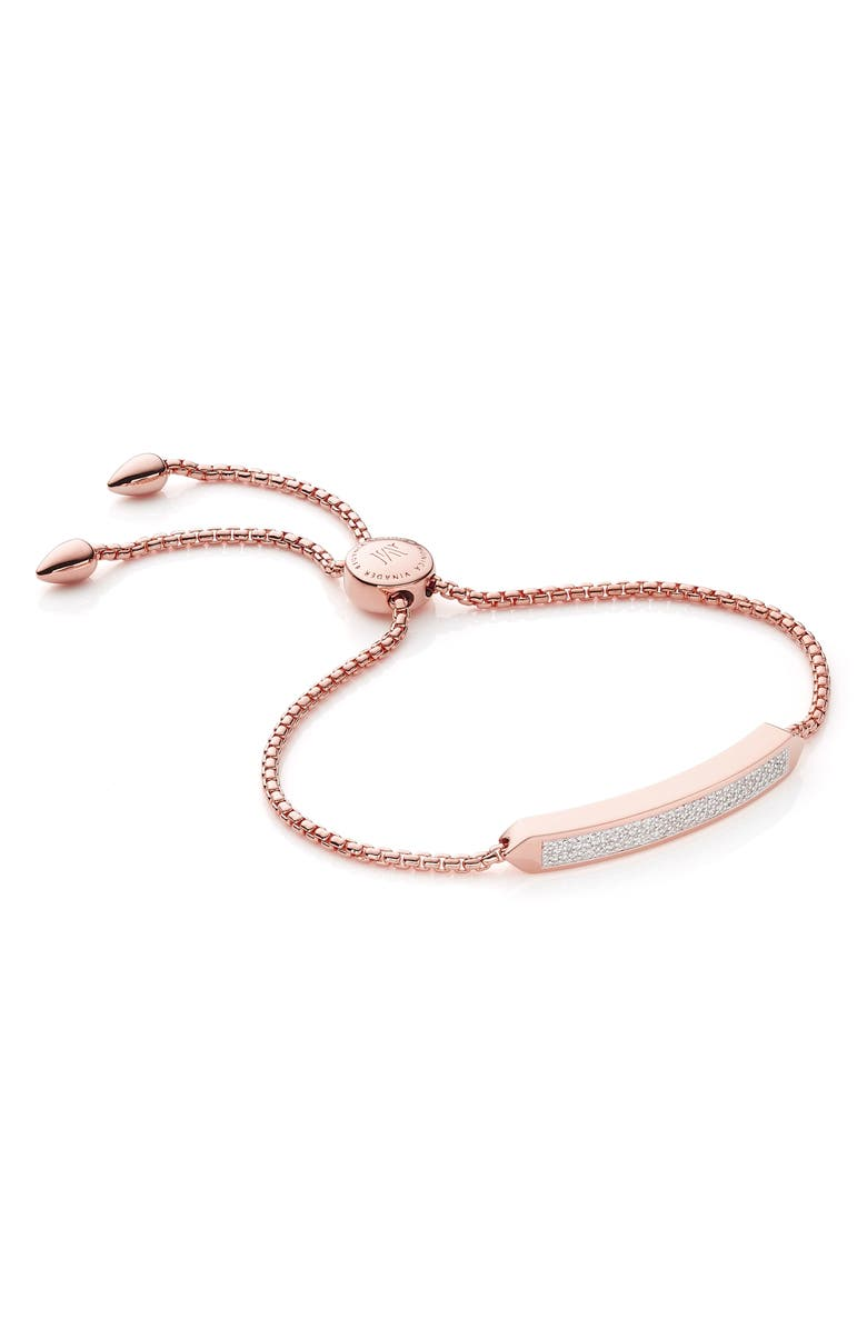 MONICA VINADER Baja Skinny Pavé Diamond Bracelet, Main, color, ROSE GOLD