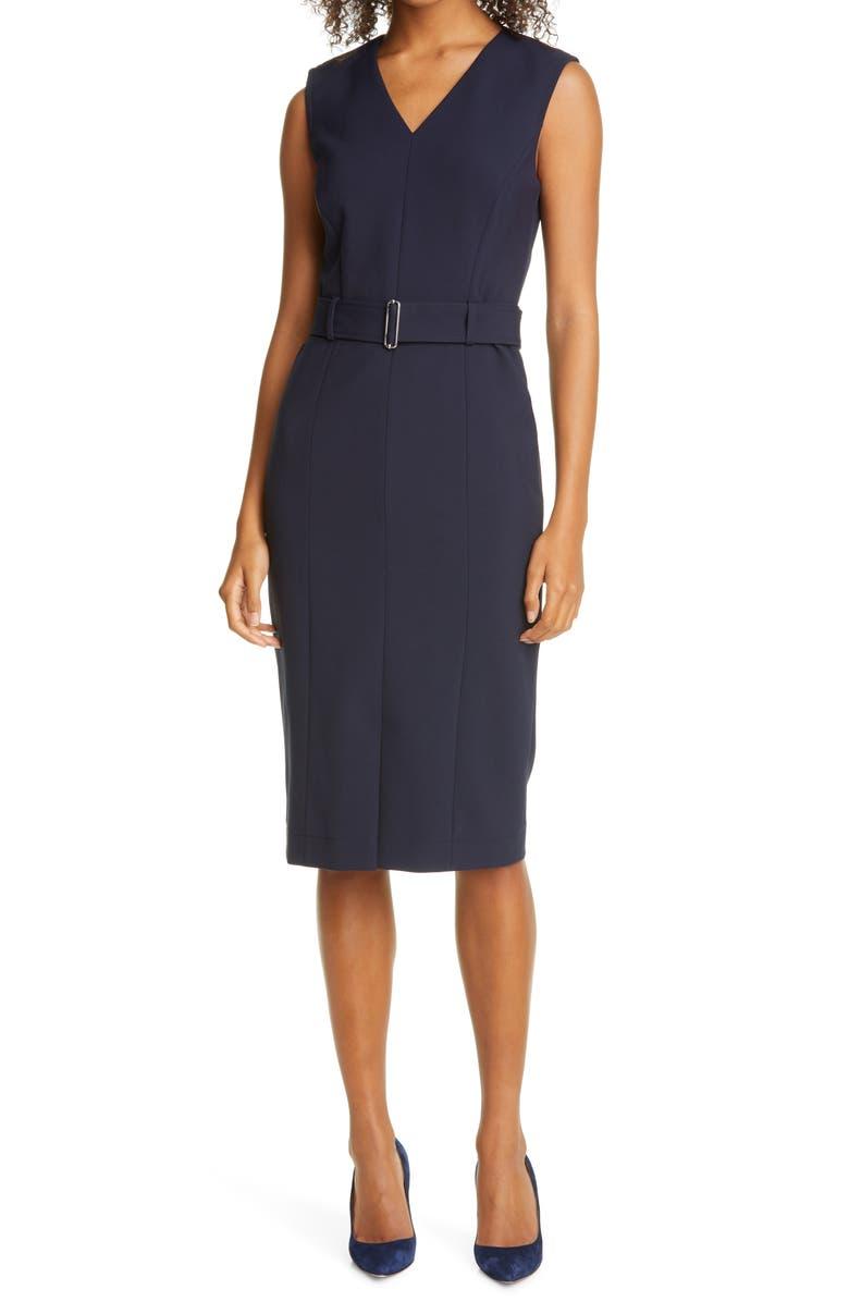 BOSS Dadorina Belted Front Slit Sheath Dress, Main, color, 466