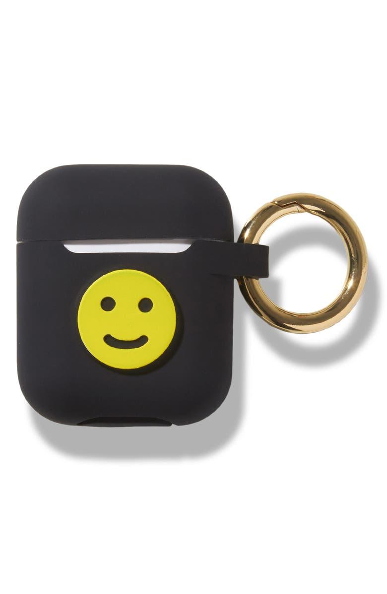 SONIX Smiley Silicone AirPod Case, Main, color, BLACK