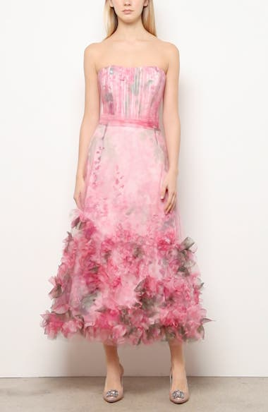 Floral Appliqué Strapless Dress, video thumbnail