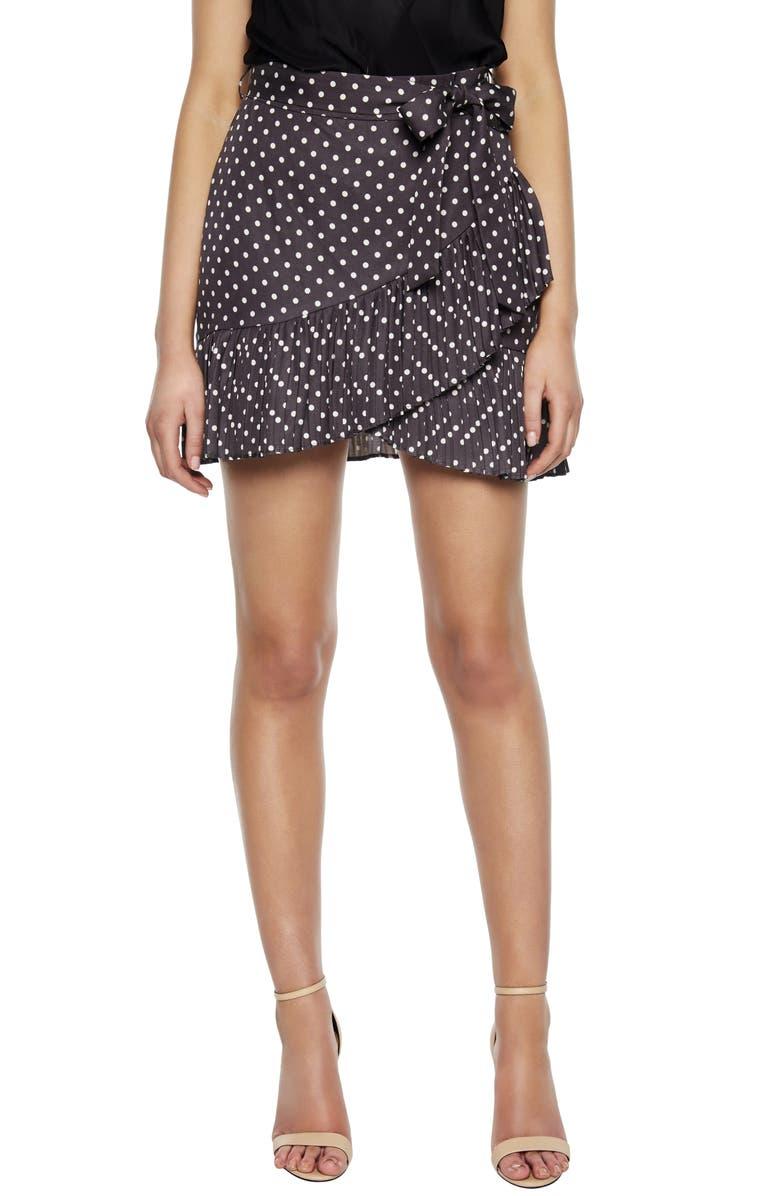 BARDOT Dot Ruffle Miniskirt, Main, color, CHARCOAL