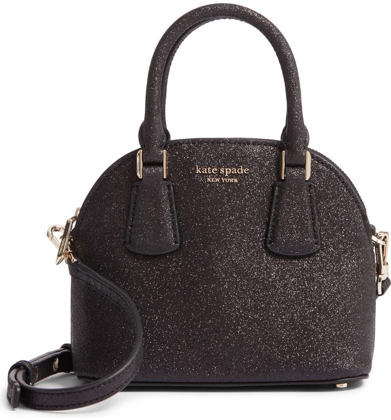 KATE SPADE NEW YORK mini sylvia glitter dome satchel, Main, color, 001