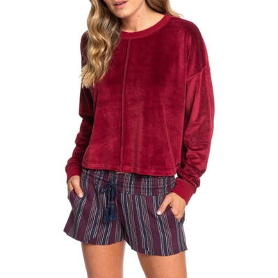 Roxy Crystal Cove Crop Velour Pullover, Burgundy