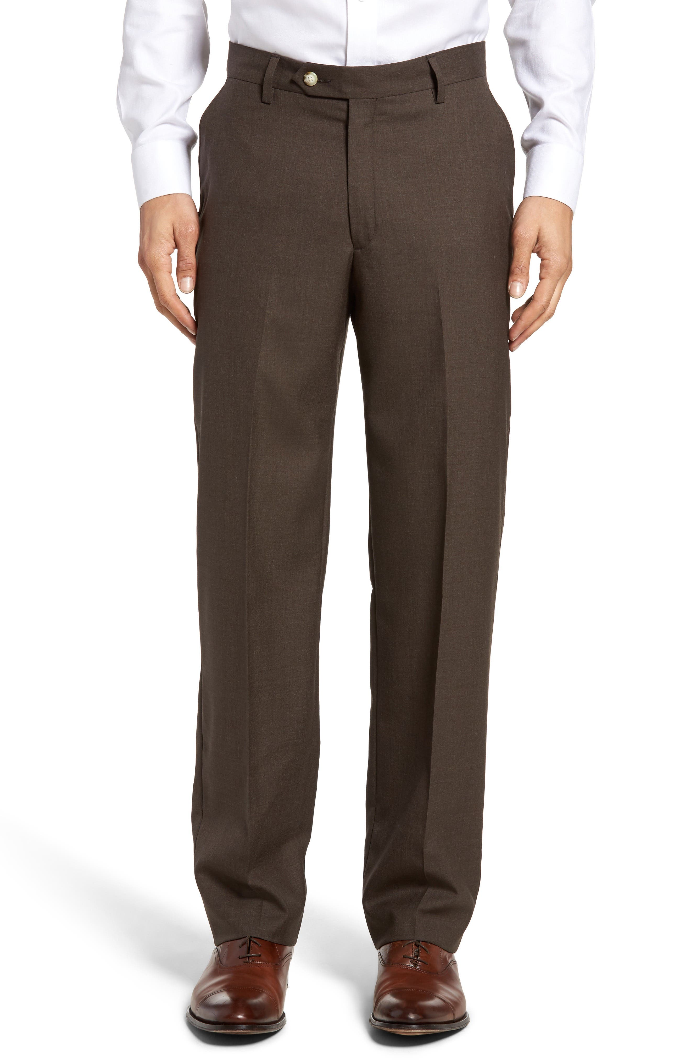 Lightweight Plain Weave Flat Front Classic Fit Trousers