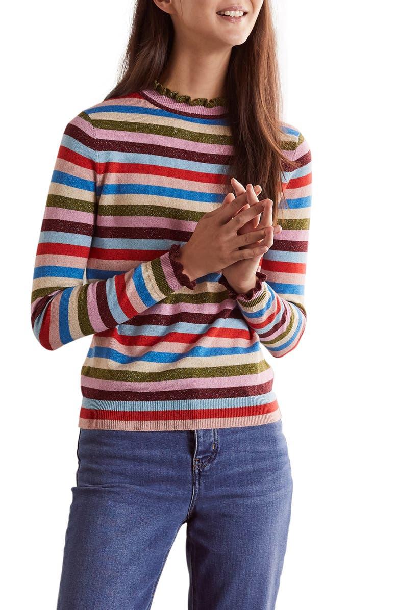 BODEN Lara Sparkle Stripe Sweater, Main, color, SPARKLE MULTI STRIPE
