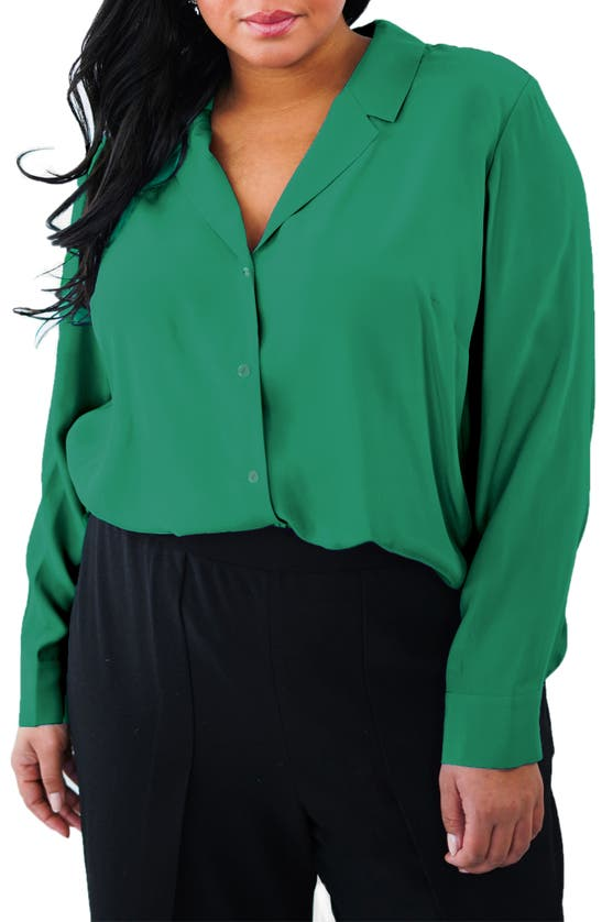 Maree Pour Toi Silk Button-up Blouse In Green