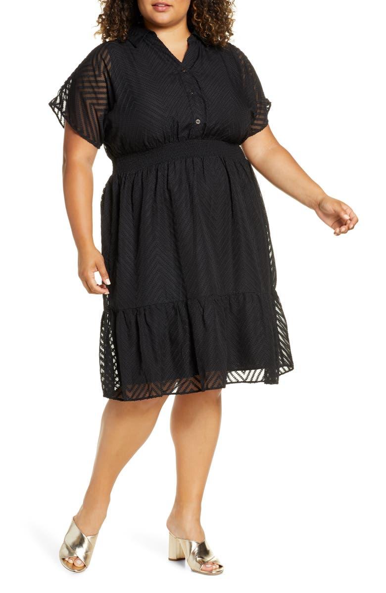 ELOQUII Textured Chiffon Shirtdress, Main, color, TOTALLY BLACK