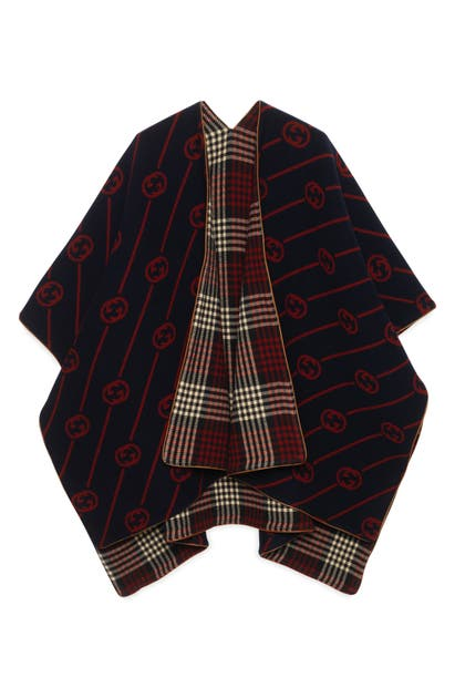 Gucci Reversible Interlocking-g Wool Poncho In Midnight Blue / Red