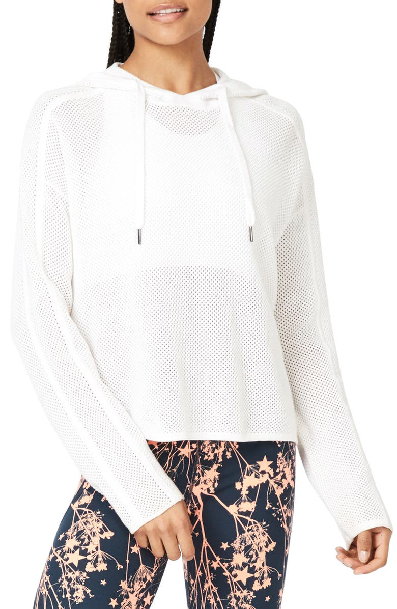 SWEATY BETTY Mesh Up Performance Hoodie, Main, color, WHITE