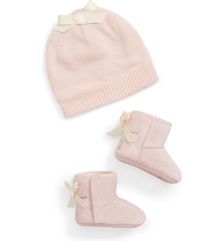 UGG<SUP>®</SUP> Jesse Bow II Bootie & Beanie Set, Main, color, BABY PINK