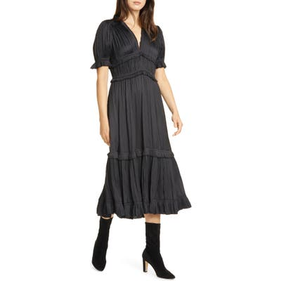 Polo Ralph Lauren Jaclyn Plisse Satin Midi Dress, Black