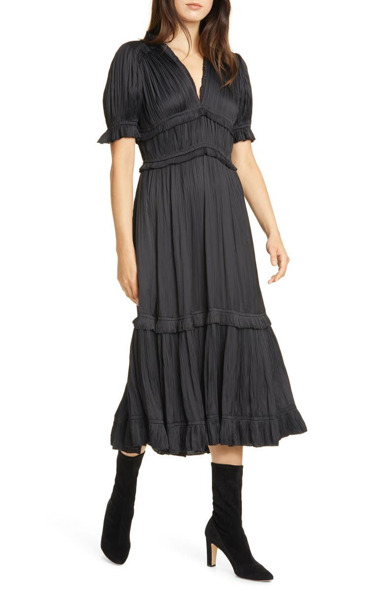 POLO RALPH LAUREN Jaclyn Plissè Satin Midi Dress, Main, color, POLO BLACK